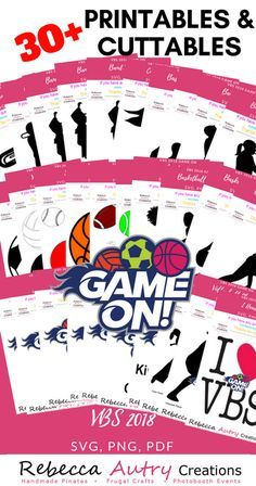 30+ VBS 2018 Game On Printables & Cuttables Available Oct. 1, 2017 #Lifeway #VBS2018 #VBS #GAMEON #Printables #SVG #PDF #VacationBibleSchool