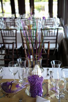 Simple and Elegant tablescape for a New England Mardi Gras Wedding