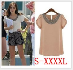 2014 New Summer Casual Women Lady Beading Blouses Short Puff Sleeve Chiffon Loose Shirts, White, Pink SIZE S-XXXXL