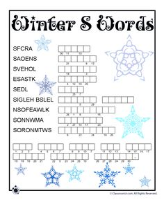 Winter Word Puzzles for Kids Winter Word Scamble – Classroom Jr.