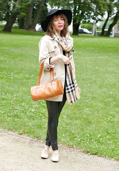 live-style20: Casual, French style with Burberry scarf and handb...