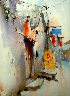 Hutong-to-Tea-House.jpg (468×640) Refreshing mix of watercolor transparency and the abstract.