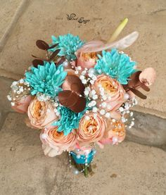 Magic of turqoise, coral/peach and copper! Floral Design & flower colouring  by www.pinkenergyfloraldesign.co.za Bridal Bouquets, Colorful Flowers, Colouring, Floral Design, Floral Wreath, Copper, Coral, Peach, Magic