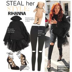 Steal Her Style-Rihanna by kusja on Polyvore featuring Topshop, Manolo Blahnik, dominic louis, Stealherstyle, Rihanna and celebstyle