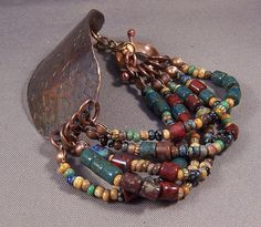 Handmade Forged Metal and Bead Bracelet by Mona - Tribal - Deep Rich Colors Czech Mixed Beads Copper Boho 2013
