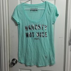 Pink VS Shirt (Size M) Size Med , A Bit Dirty At Bottom But Stain Is Removable- NEW WITH TAGS PINK Victoria's Secret Tops