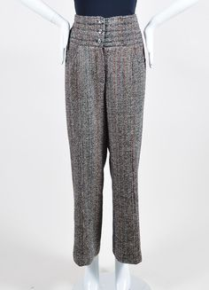 Black, White, and Red Chanel Tweed High Waisted Wide Leg Trousers