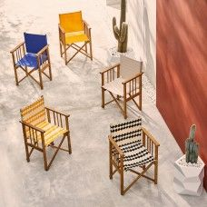 AFRICA Solid oak directors chair with charcoal cotton sling Garden Furniture Design, Outdoor Garden Furniture, Rattan Furniture, Garden Design, Garden Table, Garden Chairs, Deck Chairs, Al Fresco Dining, Sit Back And Relax