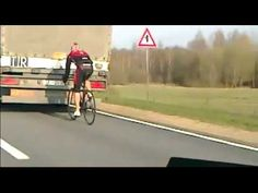 Cyclist Shows Serious Drafting Skills Behind a Truck -- .....seriously?