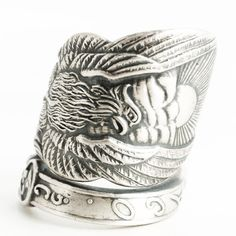 Phoenix Rising Ring, Large Sterling Silver Spoon Ring, Handmade Jewelry, Phoenix Wings, Pheonix, Gift for Him or Her, Adjustable Ring (6294) by Spoonier on Etsy