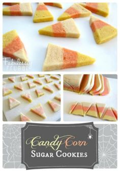 """""""Candy corn sugar cookies are super cute and easier than they look!  And the cream cheese sugar cookie recipe means they're super yummy too. www.FabulesslyFrugal.com"""""""