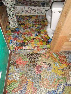 Bone House: Bottlecap Floor and Floor of Labels
