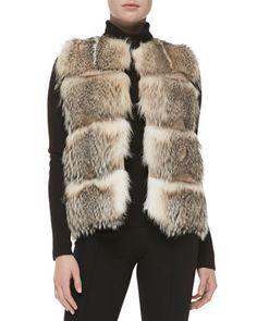 # Sofia Cashmere: Striped Badger Fur Vest