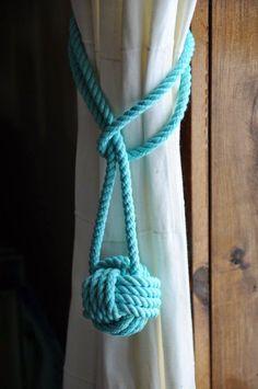 Nautical Decor - Nautical Curtain Tie Backs - Aqua Curtain Tiebacks - (this is f. - Nautical Decor – Nautical Curtain Tie Backs – Aqua Curtain Tiebacks – (this is for on Etsy - Aqua Curtains, Nautical Curtains, Nautical Bedroom, Coastal Bedrooms, Nautical Home, Coastal Homes, Bedroom Curtains, Nautical Knots, Trendy Bedroom