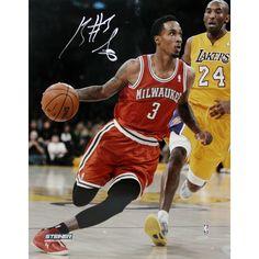 Brandon Jennings Drives Passed Kobe Bryant Signed 8x10 Photo(Getty #159553698)