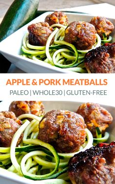 Baked Pork & Apple Meatballs (Paleo, Gluten-free, Low-Carb) via Healthy Pork Recipes, Mince Recipes, Cooking Recipes, Batch Cooking, Paleo Food, Cooking Food, Paleo Meals, Primal Recipes, Meatball Recipes