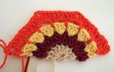 crochet half granny hexagon.