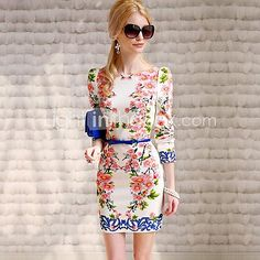 Women's Floral White Dress , Casual/Print Bateau Long Sleeve - USD $ 29.99
