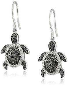 Amazon Collection Sterling Silver Black and White Diamond Turtle Earrings (1/2 cttw, I-J Color, I2-I3 Clarity)