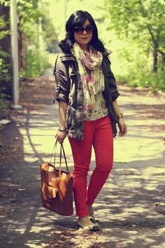 "Floral Print H&M Scarves, Army Green Forever 21 Jackets, Tawny H&M Bags | ""Watching The Stars Without You"" by KristaniA"