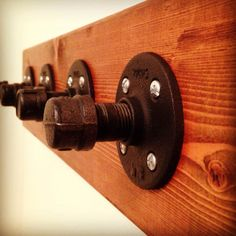 Four Hook Industrial Coat Rack  Solid Wood by PipeLineCreations, $75.00