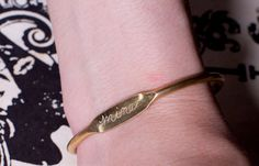 Personalized Vintage Brass ID Bangle Bracelet... Hand Engraved with Your Choice of any Word or Name you want....