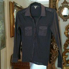 Jcrew Blouse Dark gray 100% cotton Tee shirt like Excellent condition J. Crew Tops Blouses