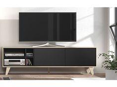 Anthracite Grey / Oak Agna TV Media Unit Mid Century Retro Living Room Furniture for sale online