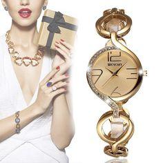 WEIQIN 2062 Women Quartz Watch Retro Elegant Big Number Rhinestone Dial Bracelet Watches at Banggood