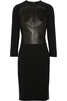 #KAUFMANFRANCO|Paneled leather and wool-blend dress