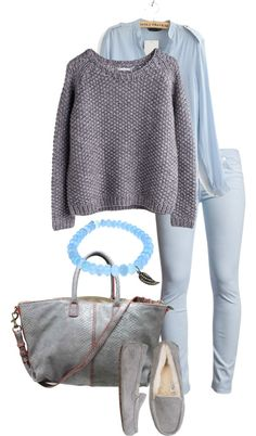 """Powder Blue and Gray"" by simple-wardrobe ❤ liked on Polyvore"
