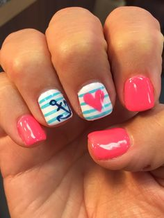 Summer nails design anchor pink June gel nail mani heart