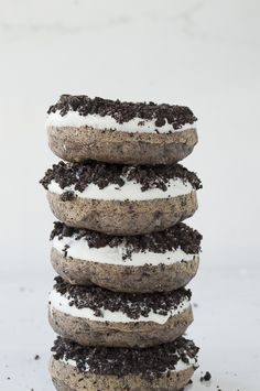Oreo donut - Oreos in the batter and crushed Oreos on top of the white chocolate - so delicious!