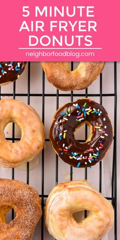 Make fluffy golden Air Fryer Donuts in just 5 minutes with this easy recipe! I've included 3 glazes so you can craft your own perfect donut. Air Fryer Recipes Donuts, Air Fryer Oven Recipes, Air Frier Recipes, Air Fryer Dinner Recipes, Air Fryer Doughnut Recipe, Easy Donut Recipe, Donut Recipes, Cooking Recipes, Air Fry Donuts