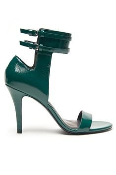 This is SHOE PERFECTION! Alexander Wang Johanna Sandal - Patent leather open toe sandal with ankle cuff and double ankle strap closure. Silver-tone hardware, covered heel. In a deep, beautiful green!