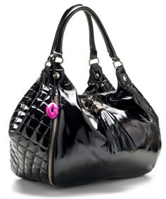 Black Patent Leather Quilted Betsey Johnson Bag