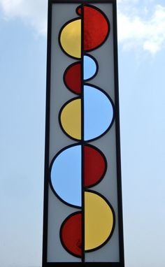 Stained Glass Window Half Circle No2 in Red Yellow by fluxglass, $115.00
