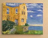 The Warden House on Alcatraz Isle 16x20 Stretched Canvas Original Oil Painting painted impression style.  Normally this is a sad scene, my daughter took a tour a few months ago of Alcatraz Island and brought home many pictures.  She and I both felt that this view made a beautiful picture and I painted it a little exaggerated to get that warm feel that I felt when I viewed her photo.