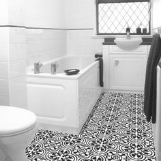 Avente Tile Design Idea: Cluny Cement Tile Adds Class to Bathroom.