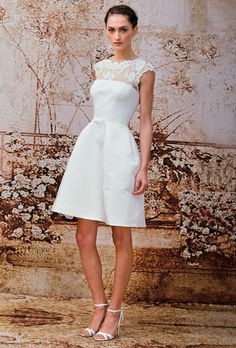Brides.com: Monique Lhuillier Simple Sleeveless Lace  A-Line Wedding Dress from Fall 2014 Collection | Click to see more from this collection!