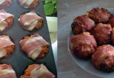 Baconös töltött fasírt Hungarian Recipes, Hungarian Food, Cake Cookies, Christmas Cookies, Baked Potato, Bacon, Main Dishes, Sausage, Muffin
