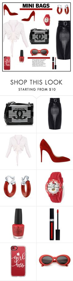 """""""So Cute: Mini Bags"""" by irockcrowns ❤ liked on Polyvore featuring Chanel, Christian Louboutin, Bling Jewelry, Disney, Tiffany & Co., OPI, Christian Dior and Casetify"""