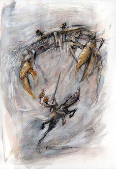 """MN Pajot """"Don Quichotte et le sortilège du cabre aux pinces d'or""""  http://marcel-pajot.blogspot.fr/2015/04/don-quichotte-petites-etudes-sur-papier.html"""