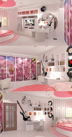 Room Design Idea for Teenage Girls.  Pink&White, have a fun!