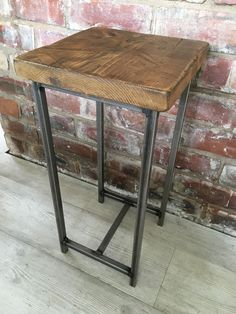 Industrial End/Side  Table With Rustic Wood Top ⚒ handmade To order ⚒
