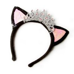 Sequin Cat Ears Headband with Crown | Claire's