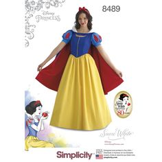 Recreate the Disney classic Snow White with this costume for Misses' sizes 6 to 20. Pattern includes dress with puffer sleeves, cape and headband. Disney for Simplicity sewing patterns.  Find it at simplicity.com.