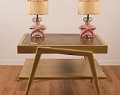 Pair of Pink Ceramic Bedside Lamps with Two Tier Fiberglass Shades