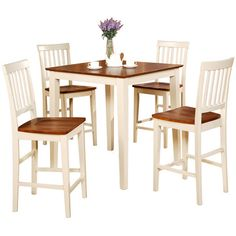 Buttermilk and Cherry Square Pub Table and 4 Kitchen Counter Chairs... ($551) ❤ liked on Polyvore featuring home, furniture, square dining table set, cherry wood furniture, 5pc dining set, cherry pub table and 5 piece dining sets
