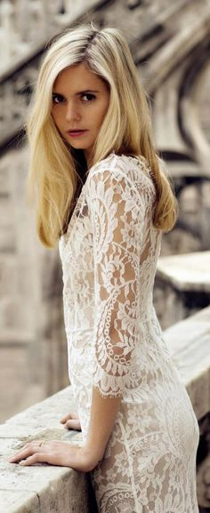 ♔ Lace ~ Anita Rendon Glamour Gown ☮k☮ Look Fashion, Fashion Beauty, Womens Fashion, Glamour, Boho Chic, White Lace, Marie, Lace Dress, Beautiful People
